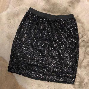 🌸GARAGE🌸Sequin Mini Skirt Black Shiny